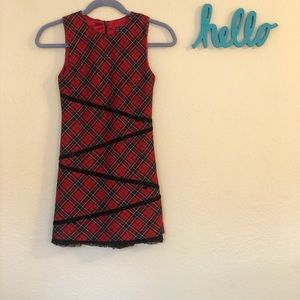 Girls holiday red plaid dress size 10